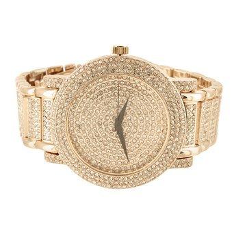 Rose Gold Finish Iced Zirkonia Techno Pave Jojo Herren Elegante Armbanduhr