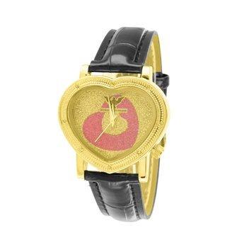 Uhren fuer Frauen diamantenluenette Herz Design Gold Finish Lederband Elegante