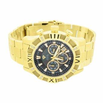 Herren Aqua Master Armbanduhr Gold Finish echten Diamanten Datum Funktion Chronograph Jojino