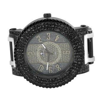 Herren Armbanduhr Hip Hop Iced Out Schwarz Kunstdiamant Bullet Design Weiss Strap