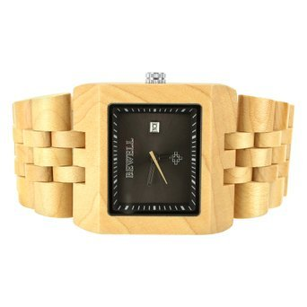 Herren Damen Casual Wear Bewell Classy Sandelholz Kiefer Holz schwarz Zifferblatt Uhr
