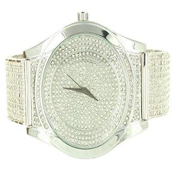 Herren Techno Pave Diamant Max Edelstahl weiss Finish Simuliert Diamant Armbanduhr