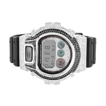 Herren DW6900 G Schock Silikon Band Iced Out Lab Diamond 2 Ton Armbanduhr