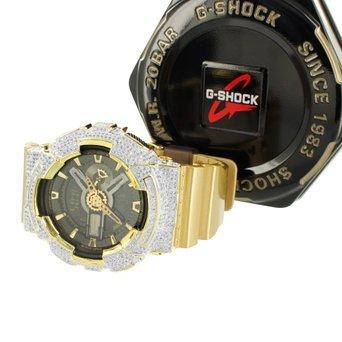 Herren ga110gd G Shock Multi Time Zone Golden Gummi Band Iced Armbanduhr