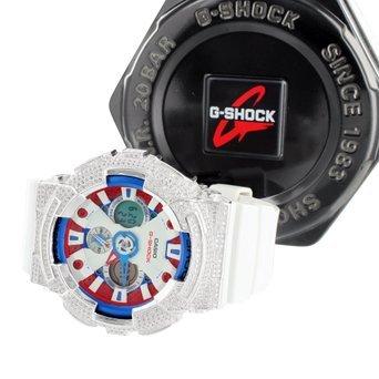 Herren G ga201tr Shock 7 A Patriot rot weiss blau Lab Diamant Iced Tag Datum Armbanduhr