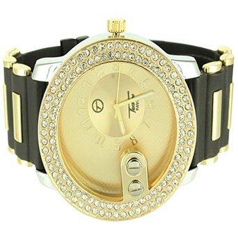 Herren Sleek Golden Face Zwei Zeile Lab Diamant Techno Pave Jojo Silikon Band Armbanduhr