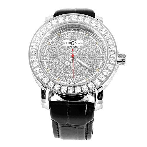 Herren neue Icy Weiss Khronos Joe Rodeo Aqua Master echt Diamant Edelstahl Armbanduhr