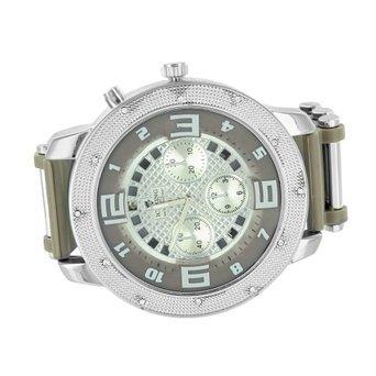 Herren Simuliert Diamant Armbanduhr Rund Face gruen Gurt Weiss Gold Finish Jojo Style