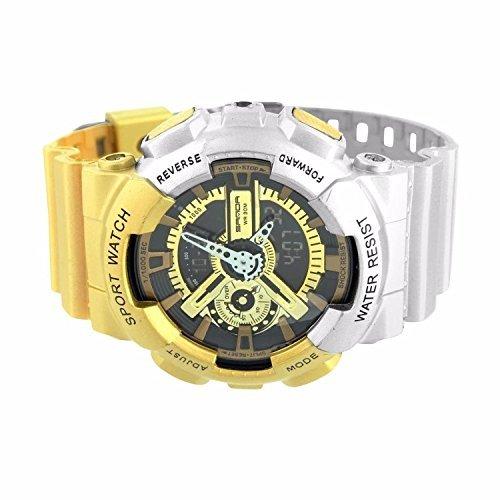 Herren stossfest Armbanduhr Gold Silber Sport Editions Digital Analog Marke neue