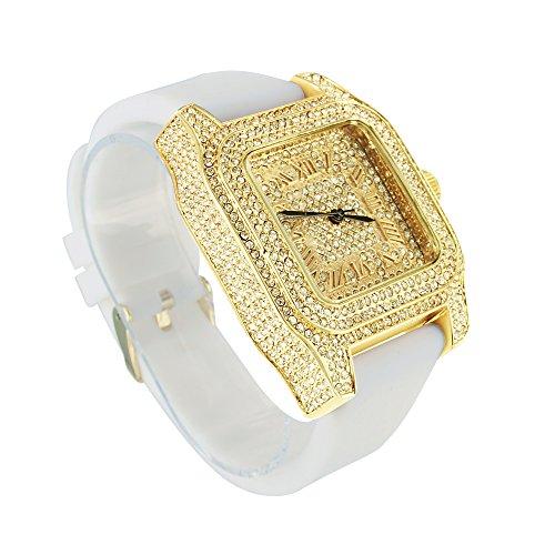 Herren Techno Pave Joe Rodeo weiss Gummi Band Lab Diamant Gold Finish Armbanduhr