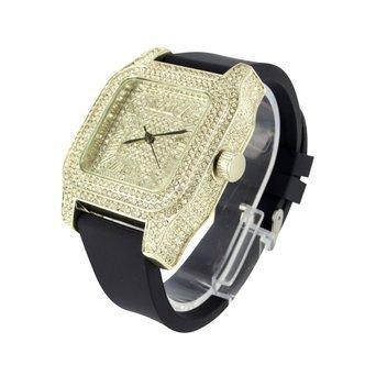 Herren vollstaendig Iced Out gelb Finish Einzigartige Techno Pave Joe Rodeo Lab Diamant Armbanduhr