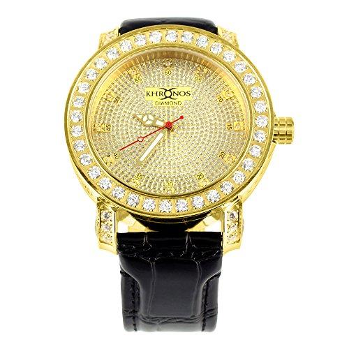 Herren Iced Out Zifferblatt Gold Finish Khronos Echter Diamant 1 Zeile Armbanduhr
