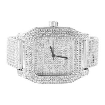 Herren Techno Pave Iced Band quadratisches Zifferblatt Lab Diamant Armbanduhr