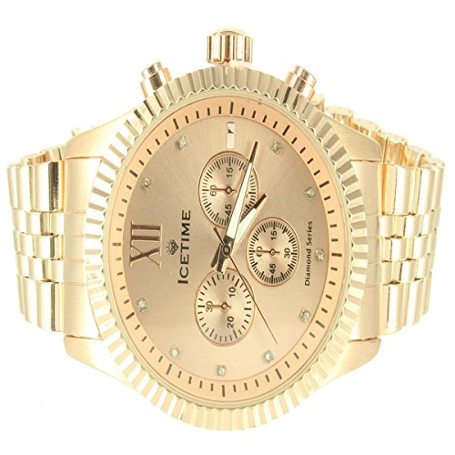 Icetime Diamant Uhr Copper Tone Herren Elegant Triple Zifferblatt Metallic Techno Master Band