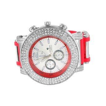 Kuenstlicher Diamant Herren Uhr Rot Bullet Band Analog Ice King Jojo Jojino Stil