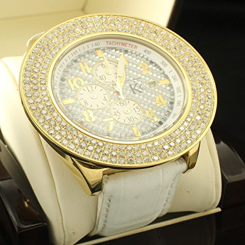 Gold Big Luenette 3 Reihe echtem Diamant 6 Karat Techno Com KC