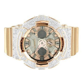 Rose Gold Finish Iced Luenette Silikon Band Multi Display G da200gd Shock Armbanduhr