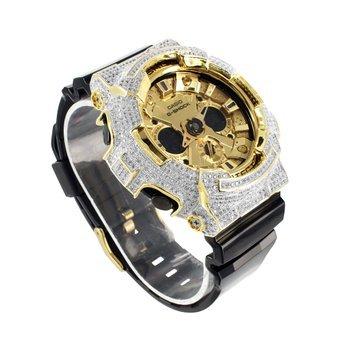 Herren Iced Out Luenette Silikon Band G ga200gd Shock Analog Digital Display Armbanduhr