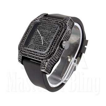 Uhren fuer Maenner Techno Pave Schwarz Gold Finish Lab Diamant Silikon Band Neu