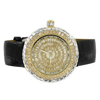 Master of Bling Armbanduhr Golden 1 CT Lab Diamant Baguette Stil Joe BM rodeojojino