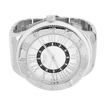 Geneva Platinum Maenner Armbanduhr XL gross 59 mm Weiss Schwarz Finish Roman schwarz Zifferblatt