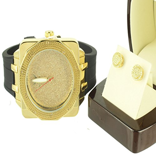 Quadratisch Schnitt Golden Echter Diamant Luenette Cluster Ohrringe Silber rund Armbanduhr Combo