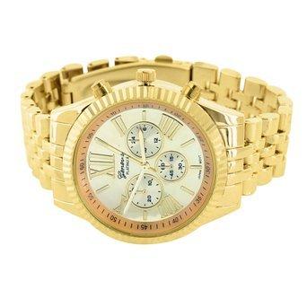 Herren roemische Zahl Zifferblatt Armbanduhr aus Luenette Gold Finish wasserabweisend Armbanduhr