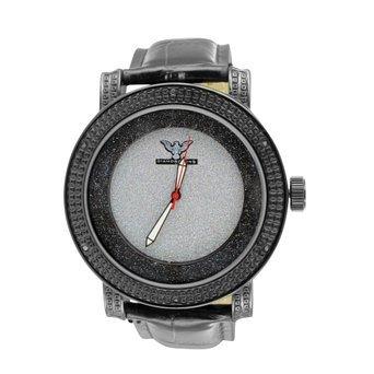 Schwarz Leder Armbanduhr diamantenluenette Herren Marke New Chic Rueckseite aus Edelstahl