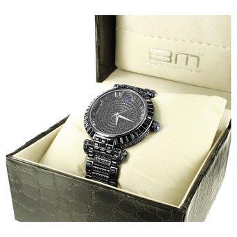 Bold Schwarz Classy Bling Master Aqua Master Herren Lab Diamant 316 Stahl Armbanduhr