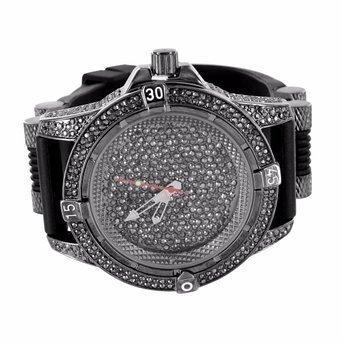 Schwarz lab Diamant Armbanduhr Rund Analog schwarz PVD Designer Silikon Band Jojo New