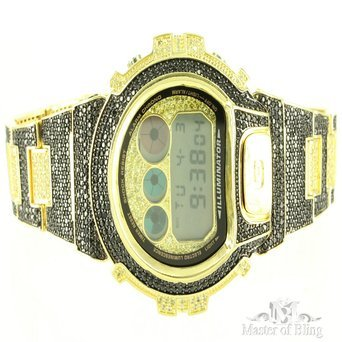 Schwarz Gelb Iced Out Schwarz lab Diamant Custom Gold Finish 1AER Armbanduhr fuer Herren