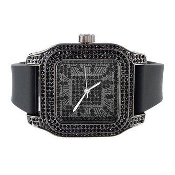 Herren Techno Pave Schwarz lab Diamant quadratisches Zifferblatt Gummi Band Armbanduhr