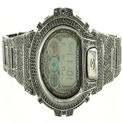 Herren CUSTOM Iced Out Schwarz Kunstdiamant Designer neue Digital 1AER Armbanduhr