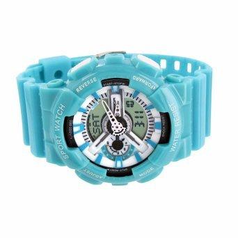 Baby Blue Sports Armbanduhr stossfest digital analog blau Silikon Riemen Herren