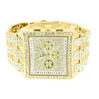 Big Square Face Iced Out Lab Diamanten Geneva Gold Stahl Rueckseite Jojo 1058