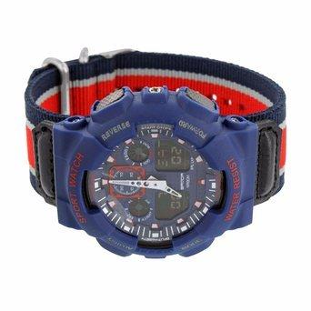 Stossfest Uhren Stoff Band Navy Blau Rot Sport STYLE analog dig
