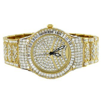 14 K Gold Ton Iced Tablett Lab Diamanten Mesh Band lab Diamant Rodeo