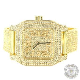 Techno Pave Armbanduhr Gelb Gold Finish Lab Diamanten Herren Party Wear