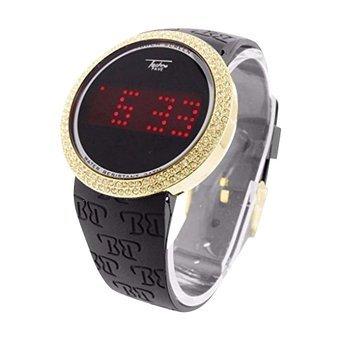 Techno Kunstdiamant Pave Uhr Touch Screen Display Herren Gold Finish
