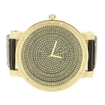 Techno Pave New schwarz XL Zifferblatt Leder Band Diamant Herren Gelb Finish Armbanduhr