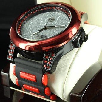 Techno Pave Silikon Band Icy schwarz gold finish rot Dial Lab Diamant Herren Armbanduhr