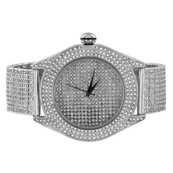 Voll Iced Out Techno Pave Simuliert Diamant weiss gold finish Herren Stahl Sportuhr