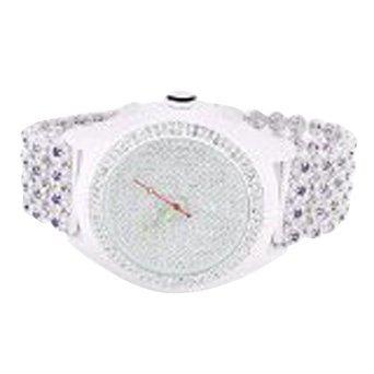 Uhren fuer Maenner weiss gold finish violett Lab Diamant Iced Tablett Cluster Band Verkauf