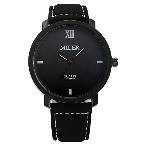 MILER Herren Fashion Freizeit PU Leder Band Quarz Handgelenk watches schwarz