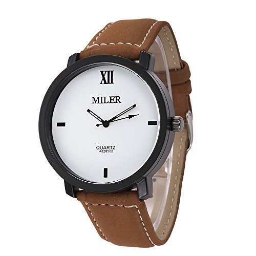 MILER Herren Fashion Freizeit PU Leder Band Quarz Handgelenk watches Kaffee