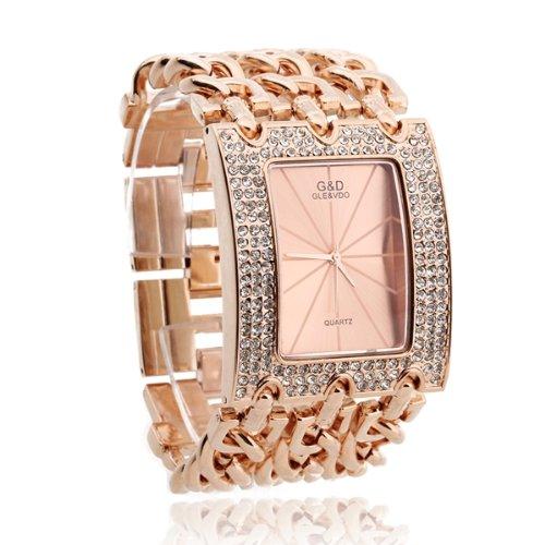 Strass Damen Armband Uhr Armbanduhren Quarz Legierung Rosengold Farbe