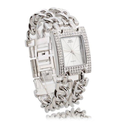 Damen Uhr Armbanduhr Quarz Uhren Armband Armkette mit Strass Silberweiss Modern