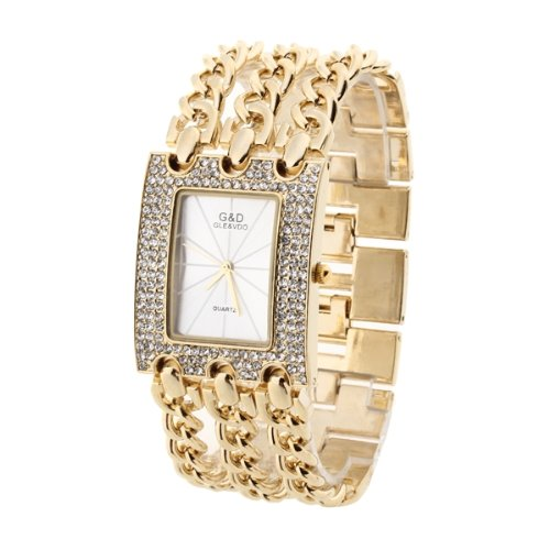Damen Armreifen Uhr Armbanduhr Quarzuhr Armkette Uhr Golden 3 reihig
