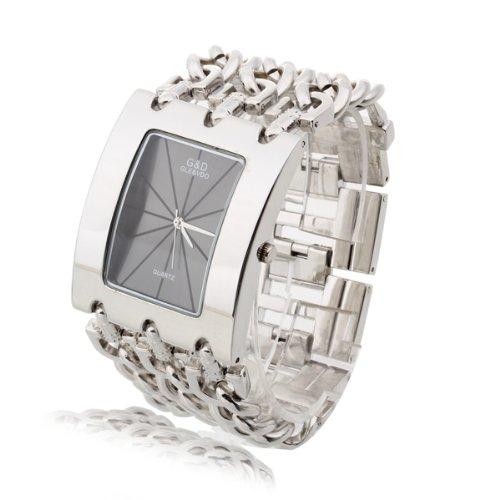 Damen Armband Uhr Armbanduhr Quarzuhr Legierung Silberfarbe Rechteck IN