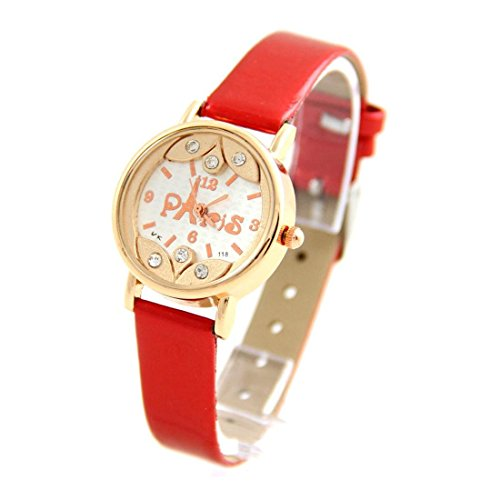 Damen Paris Armbanduhr Leder rot Happy Color 2070
